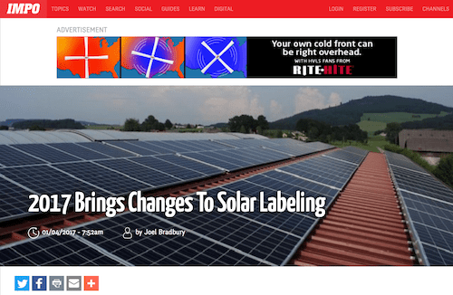 2017 Brings Changes to Solar Labeling