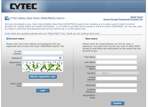 CYTEC Safety Data Sheet (SDS/MSDS) Search