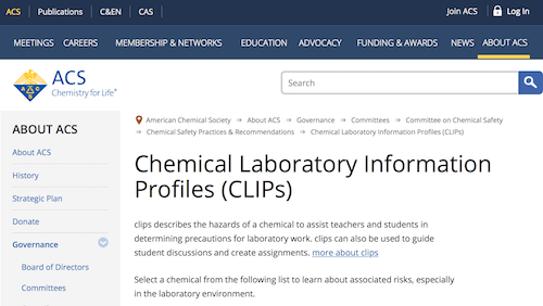 Chemical Laboratory Information Profiles (CLIPs)