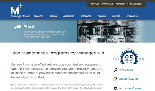 Fleet Maintenance Programs by ManagerPlus for fleet tracking