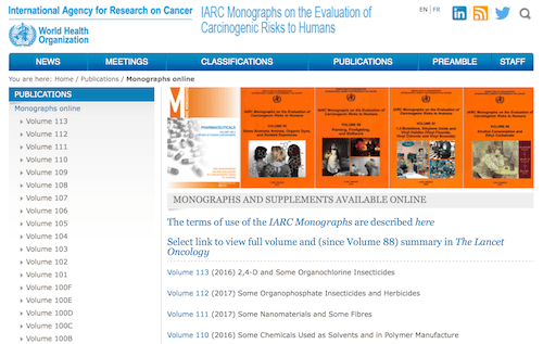 International Agency for Research on Cancer (IARC) Monographs and Supplements