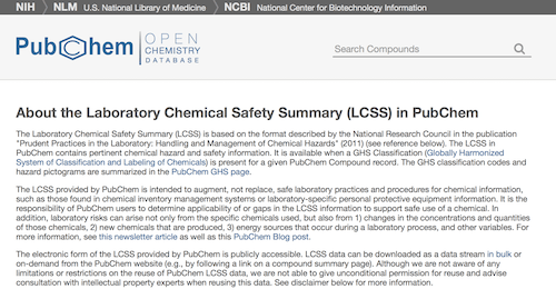 Laboratory Chemical Safety Summary (LCSS)