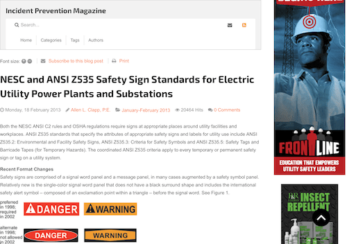 NESC and ANSI Z535 Safety Sign Standards for Electric Utility Power Plants and Substations