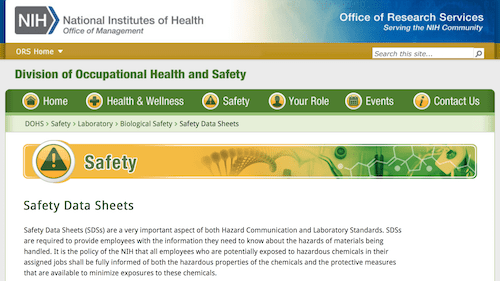 NIH/ORS Safety Data Sheets