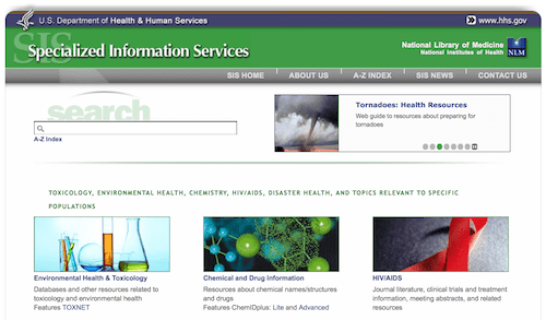National Library of Medicine Specialized Information ServicesIndex
