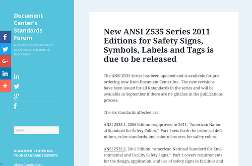 New ANSI Z535 Series 2011 Editions for Safety Signs Symbols Labels and Tags is due to be released
