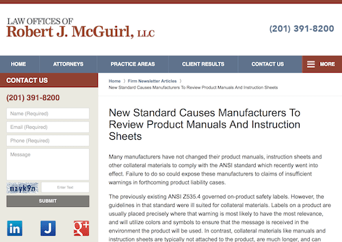 New Standard Causes Manufacturers To Review Product Manuals And Instruction Sheets