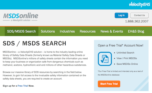 SDS/MSDS Search