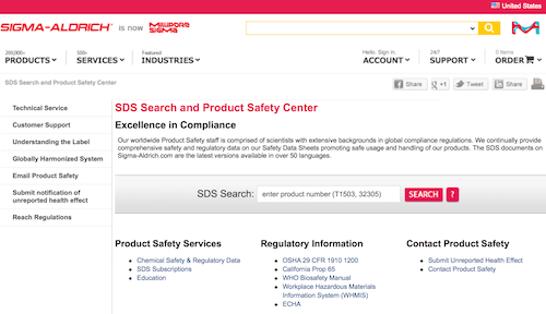 Sigma-Aldrich SDS Search and Product Safety Center