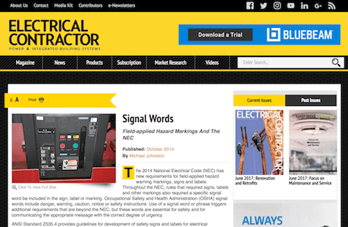 Signal Words FieldApplied Hazard Markings and the NEC