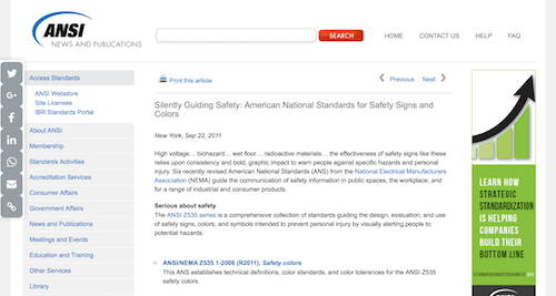 Silently Guiding Safety American National Standards for Safety Signs and Colors