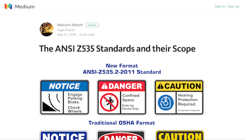 The ANSI Z535 Standards and their Scope
