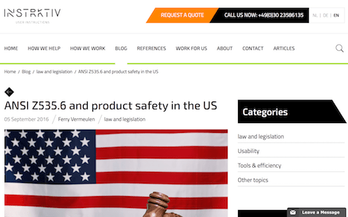 The ANSI Z5356 and How to Create Compliant Manuals for the US