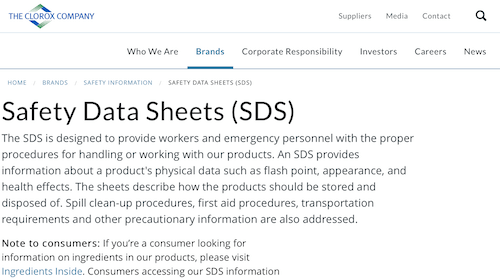 The Clorox Company - Safety Data Sheets (SDS)