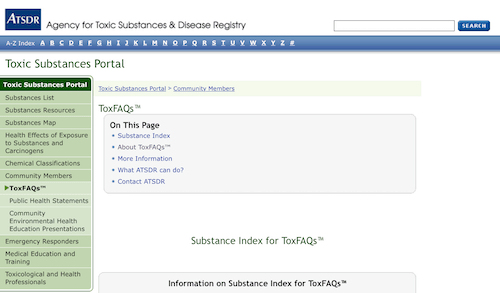 Toxic Substances Portal- Substance Index for ToxFAQs