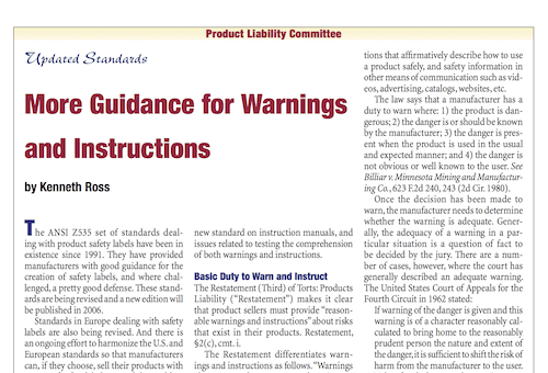 Updated Standards More Guidance for Warnings and Instructions