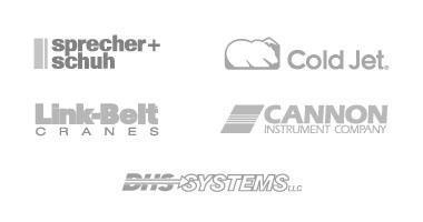 logos of MPC customers - sprecher+schuh, cold jet, cannon instruments, dhs systems, link belt cranes