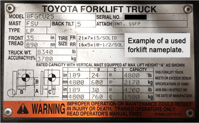 this is a forklift capacity plate