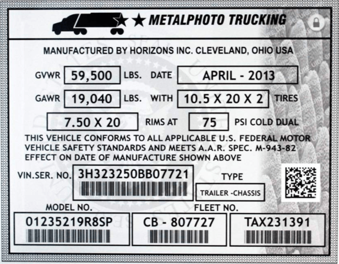 aluminum forklift capacity data plate