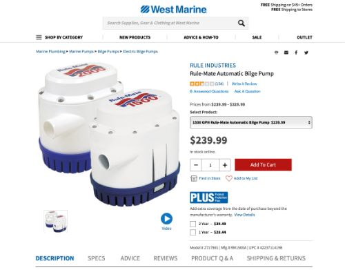 Rule-Mate Automatic Bilge Pump 1500