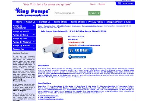 Rule Pumps 500 GPH