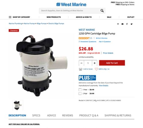 West Marine Cartridge Pump
